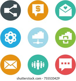 Origami corner style icon set - share, sms bank, love letter, network, cloud service, exchange, mail, group, message