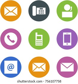 Origami corner style icon set - mail, phone, receptionist, , mobile, , e, ,