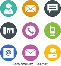 Origami corner style icon set - support, mail, chat, phone, , mobile, e, ,