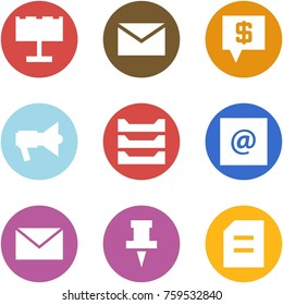 Origami corner style icon set - billboard, mail, sms bank, loudspeaker, paper tray, e, , pin, document