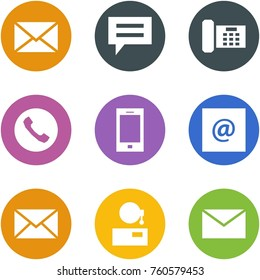 Origami corner style icon set - mail, chat, phone, mobile, e, support,