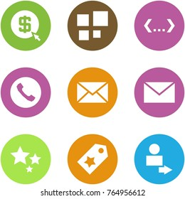 Origami corner style icon set - mining, loading, code, phone, mail, , stars, star label, user login