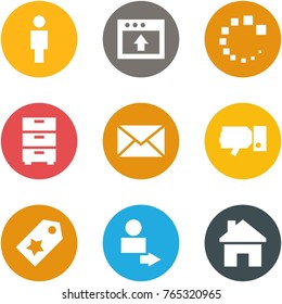 Origami corner style icon set - man, upload, loading, archive, mail, dislike, star label, user login, house