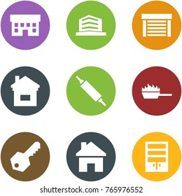 Origami corner style icon set - house, office, garage, home, rolling pin, fire pan, key, , wardrobe