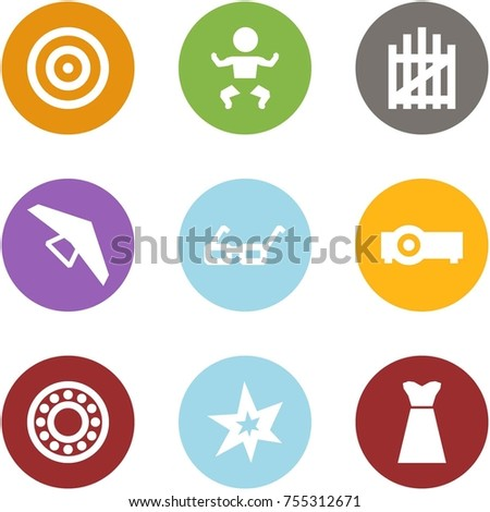114b7f18 Origami corner style icon set - target, baby, gate, deltaplane, glasses,  projector, bearing, bang, dress - Vector
