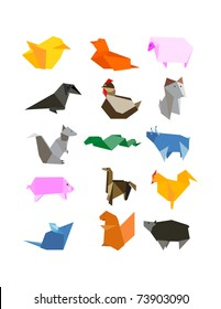 Origami Country Farm Animals Icon Set