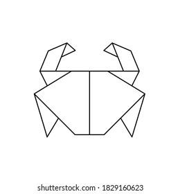 origami crab icon outline vector design. Contour for tattoo, logo, emblem and design element.
