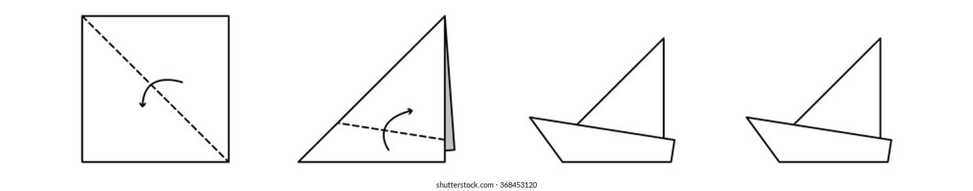 Color Origami Diagram Boat Stock Vector Royalty Free 368453117