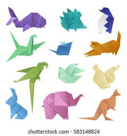 Origami different paper animals geometric game japanese toys design and asia traditional decoration origami original paper hobby game vector illustration.