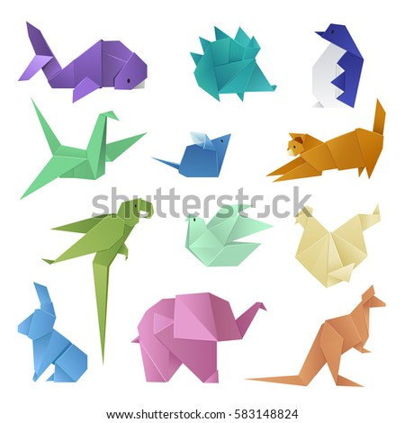 Origami Different Paper Animals Geometric Game Stock Vector Royalty