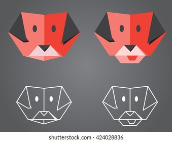 Origami Dog - illustration of folded origami dog faces, plus low-poly outline versions.
