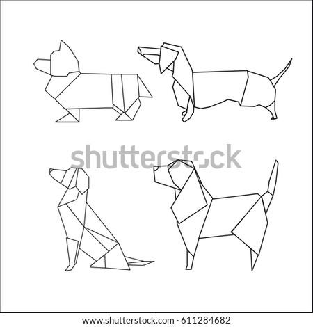 Origami Dog Vector Illustration Stock Vector Royalty Free