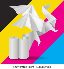 Origami Dragon with rool of paper on print color background.  Illustration of paper Dragon on cmyk colors  background. Vector available.