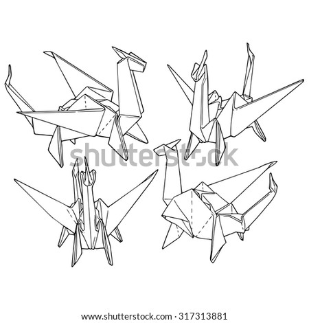 Complex origami hand drawn diagrams car wiring diagrams explained origami dragon set handdrawn design elements stock vector royalty rh shutterstock com complex origami flower diagram origami dragon diagram mightylinksfo