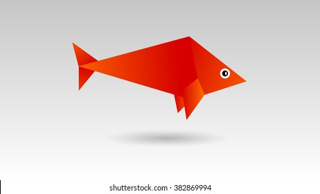 Origami fish vector illustration. Template for your logo design. Background polygon style. Paper fish