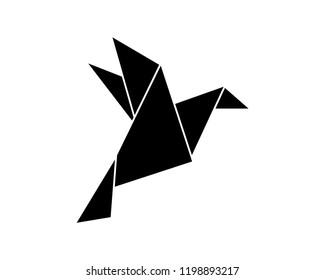 Origami Flying Bird Sign Symbol Icon Logo Vector