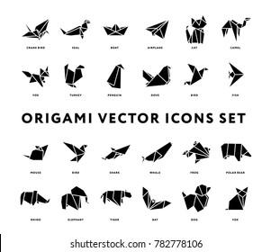 Origami Folded Paper Animals Shapes. Bird, Crane, Cat, Dog, Rhino, Fox, Mouse, Elephant. Flat Solid Icon Illustration Set Collection