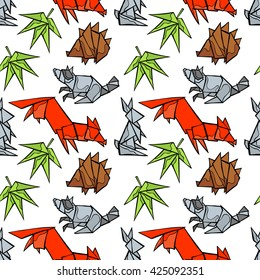 Origami. Forest animals: fox, raccoon, rabbit, hedgehog. Leaves. Seamless vector pattern (background). Hand drawn pattern.
