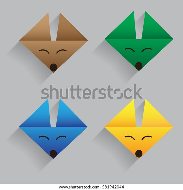 origami fox face vector with much color