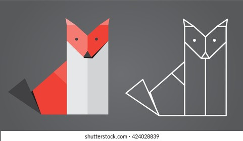 Origami Fox - illustration of a folded origami fox, plus a low-poly outline version.