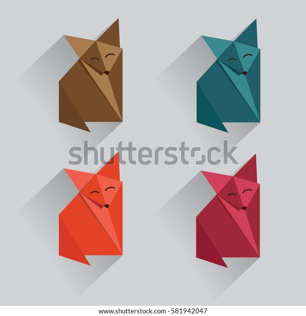 origami fox  vector with much color