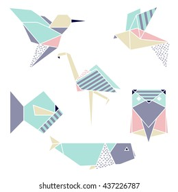 Origami geometric set: flamingo, hummingbird, fish, whale, owl .Cute style. Vector illustration.