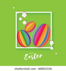 Origami Happy Easter Greeting card. Three Colorful Paper cut Easter Egg, white flower. Square frame. Green background. Vector illustration.