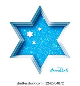 Origami Happy Hanukkah Greeting card on blue. Hanuka jewish illustration.David star.j Happy holidays.
