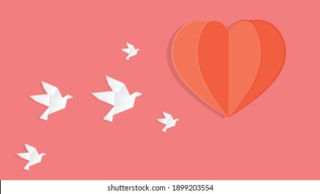 Origami Happy Valentine's day greeting. Valentine day poster. Flying Love Birds in paper cut style.