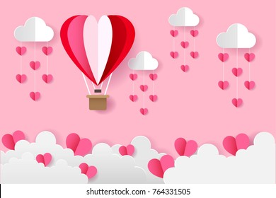 Origami Heart Balloons On The Sky and Heart Rain, Love and Valentine Day Vector Illustration Paper Art