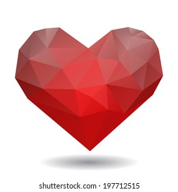 Origami heart in diamond style isolated on white