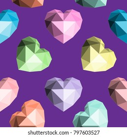Origami heart. Seamless vector pattern. Valentines Day. For Random Acts of Kindness Day, a Wedding or a Birthday. Purple background