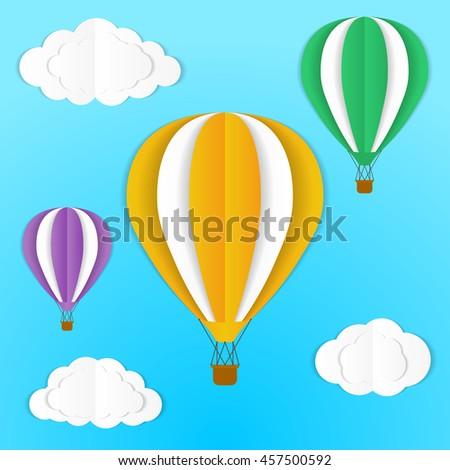 Origami Hot Air Ballon Clouds Sky Stock Vector Royalty Free
