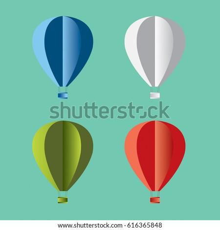 Origami Hot Air Balloon Stock Vector Royalty Free 616365848