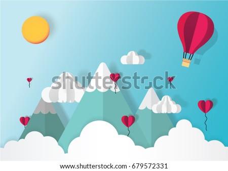 Origami Hot Air Balloon Over Mountain Stock Vector Royalty Free