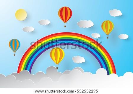 Origami Hot Air Balloon Rainbow Blue Stock Vector Royalty Free
