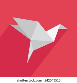Origami icon with shadow on a red background