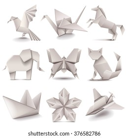 Origami icons detailed photo realistic vector set