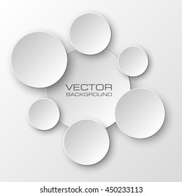 Origami infographic white banners set. Design round shape. Vector label tag.