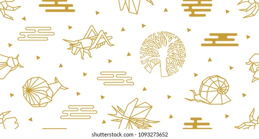 Origami insects. Seamless vector pattern with dragonflies, snails, beetles, trees and abstract geometric elements. White and golden print with Japanese and Chinese paper art motifs.