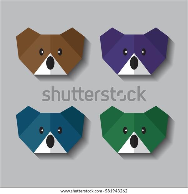 origami koala face vector colorful