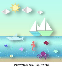 Origami landscape with animals and ships this image is a vector illustration.