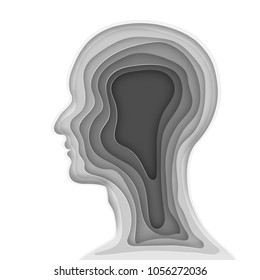 Origami layer of gray human head as business, health, medical, paper carve art and craft style concept. vector illustration.