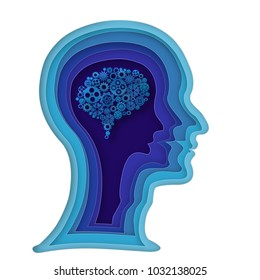 Origami layer of human head and light gear brain on blue background as business, science,intelligence idea, paper carve art and craft style concept. vector illustration.