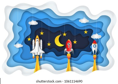 Origami layer skyscape of rockets launch, half moon, stars and clouds in the night as paper art, craft style and start up concept. vector illustrator.