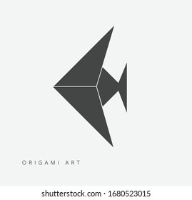 Origami Logo Design Template Inspiration, Vector Illustration, Paper made animal illustration. stylized animal vector drawing. Abstract animal.see fish origami scheme