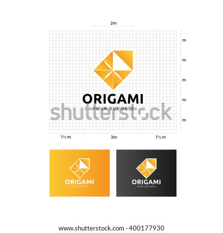 origami logo template grid different backgrounds stock vector
