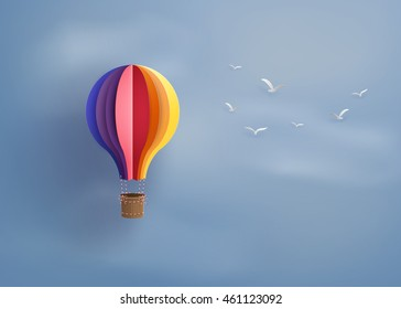 Origami made colorful hot air balloon .paper art style.