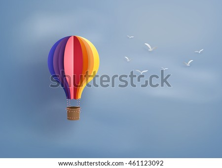 Origami Made Colorful Hot Air Balloon Stock Vector Royalty Free