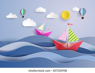 origami made colorful sailing boat and balloon.paper art style.
